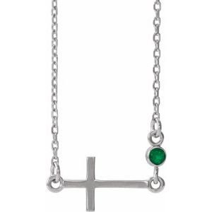 "14K White Emerald Sideways Cross 16-18"" Necklace"