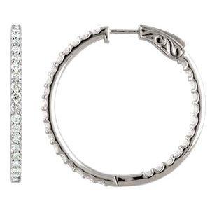 14K White 6 1/4 CTW Diamond Inside-Outside 51 mm Hoop Earrings