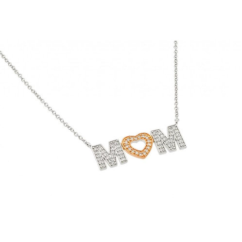 MOM and Heart Cubic Zirconia Sterling Silver Necklace