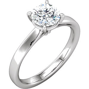 **18K White 7.4 mm Round Solitaire Engagement Ring Mounting