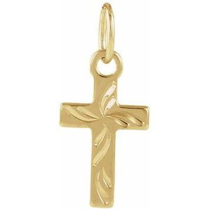 14K Yellow 10x6 mm Youth Cross Pendant