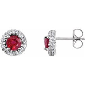 14K White Ruby & 1/3 CTW Diamond Earrings