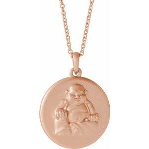 """14K Rose Buddha 16-18"""" Necklace"""