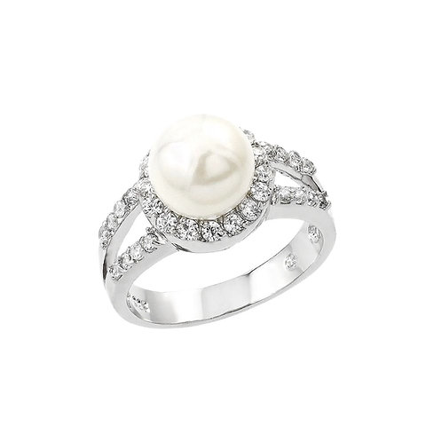 Synthetic Pearl Center Cluster Cubic Zirconia Ring