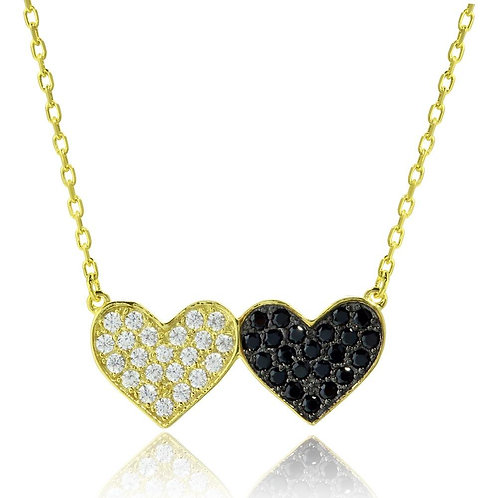Sterling Silver Black & Clear Cubic Zirconia Double Heart Necklace