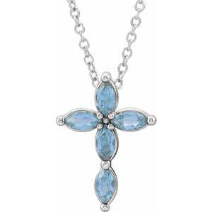 14K White Aquamarine Cross Necklace