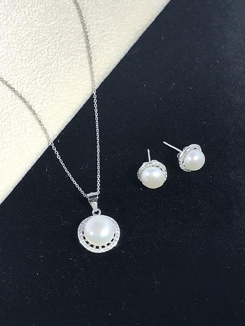 White Freshwater Round Pearl Cubic Zirconia Set