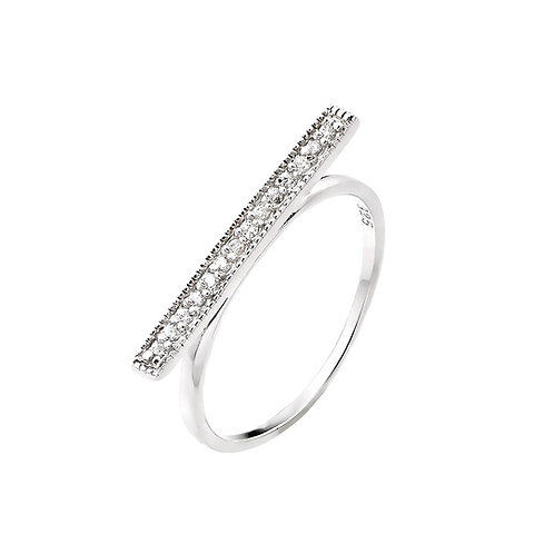 Sterling Silver Bar Pave Ring