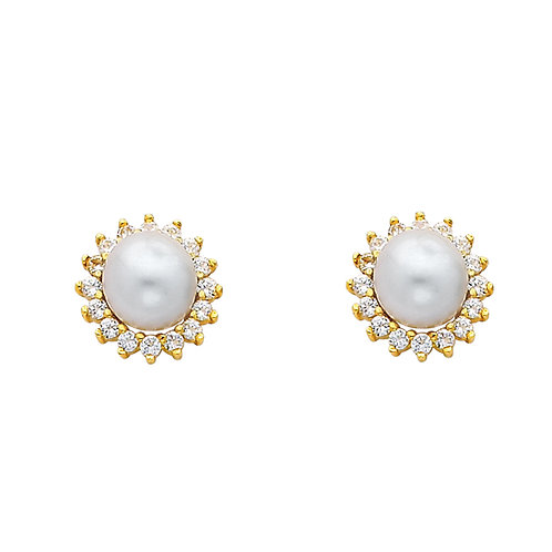14K Yellow 8mm Pearl with CZ Set