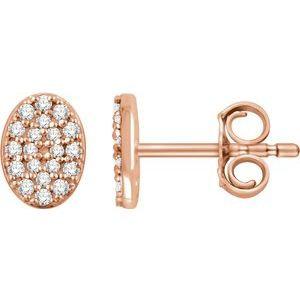 14K Rose 1/6 CTW Diamond Oval Cluster Earrings