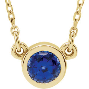 "14K White Chatham® Created Blue Sapphire 16"" Necklace"