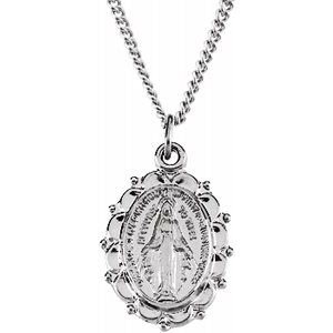 "Sterling Silver 13x11 mm Miraculous Medal 18"" Necklace"