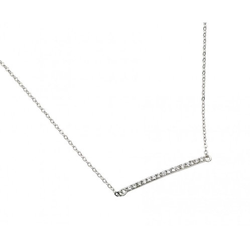 Sterling Silver Clear CZ Rhodium Plated Bar Necklace