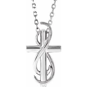 """Sterling Silver Cross 16-18"""" Necklace"""