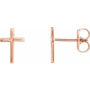 14K Rose 10 mm Cross Pair of Earrings