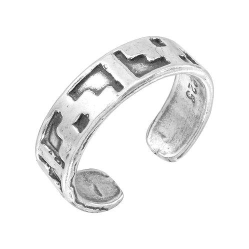 925 Block Design Toe Ring