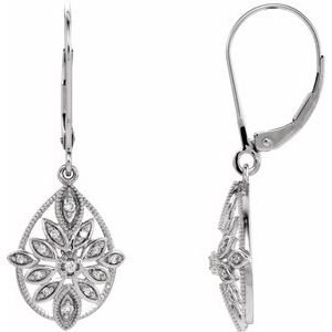 14K White 1/6 CTW Diamond Granulated Filigree Earrings