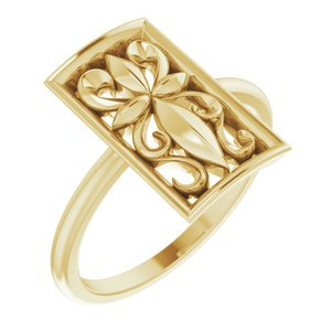 14K Yellow Vintage-Inspired Cross Ring
