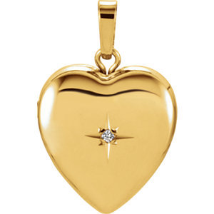 14K Yellow .005 CT Diamond Heart Shape Locket