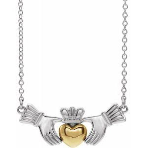 "14K White/Yellow Claddagh 18"" Necklace"