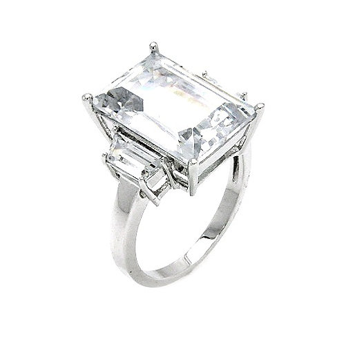 925 Rhodium Plated Clear Baguette and Rectangular Center CZ Bridal Ring