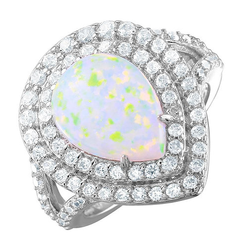 Opal and Cubic Zirconia Sterling Silver Rhodium Plated Ring