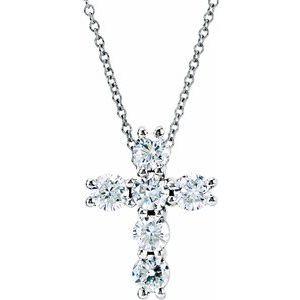 "14K White 1 1/6 CTW Diamond Cross 18"" Necklace"