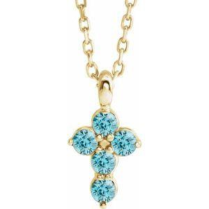 "14K Yellow Blue Zircon Cross 16-18"" Necklace"
