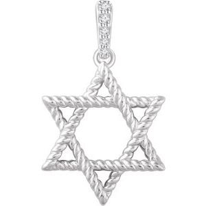 14K White .025 CTW Diamond Star of David Pendant