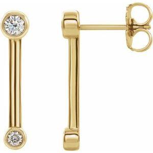 14K Yellow 1/5 CTW Diamond Bezel-Set Bar Earrings