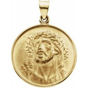 18K Yellow 24.5 mm Face of Jesus Medal