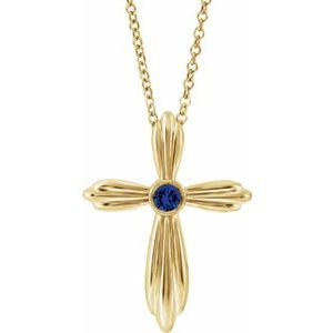 """14K Yellow Chatham® Lab-Created Blue Sapphire Cross 16-18"""" Necklace"""
