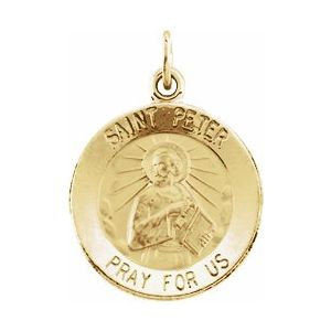 14K Yellow 15 mm Round St. Peter Medal