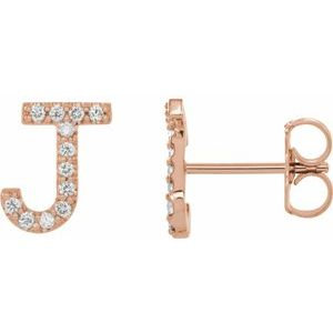14K Rose .05 CTW Diamond Single Initial J Earring