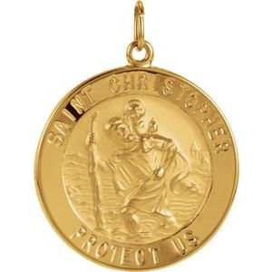 14K Yellow 25 mm St. Christopher Medal