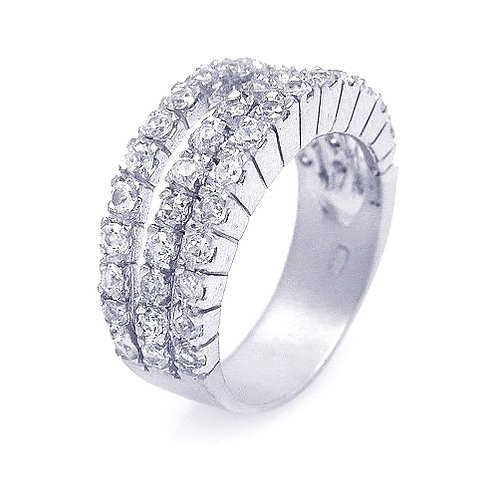 925 Rhodium Plated 3 Row Clear CZ Ring