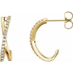 14K Yellow 1/6 CTW Diamond Criss-Cross J-Hoop Earrings