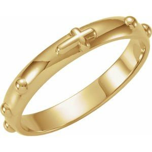 14K Yellow Rosary Ring Size 9