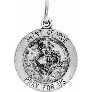 14K White 18 mm Round St. George Medal