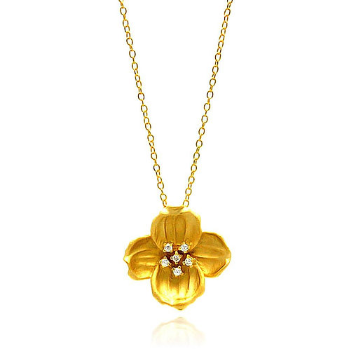 Yellow Flower Cubic Zirconia Sterling Silver Necklace Pendant