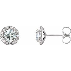 14K White 5 mm Round White Sapphire & 1/8 CTW Diamond Earrings