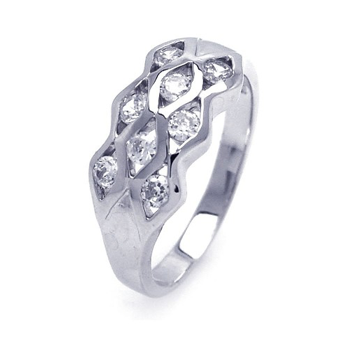 925 Rhodium Plated CZ Eyelet Ring