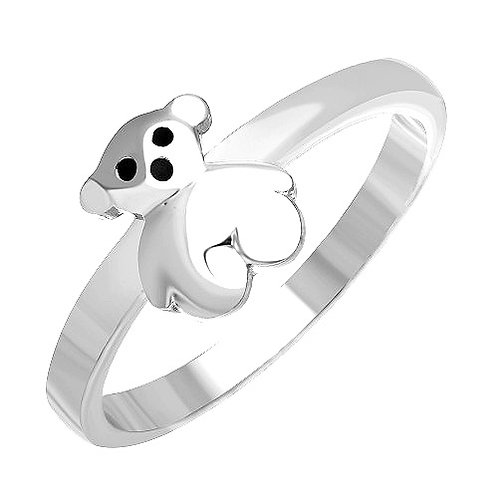 925 Rhodium Plated Teddy Bear Ring