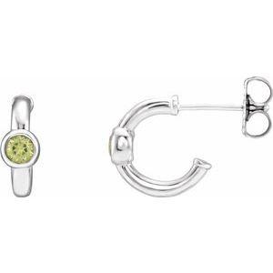 14K White Peridot Hoop Earrings