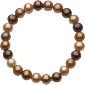 """8-9 mm Freshwater Cultured Dyed Chocolate Pearl 7"""" Stretch Bracelet"""