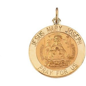 14K Yellow 12 mm Round Jesus, Mary and Joseph Medal