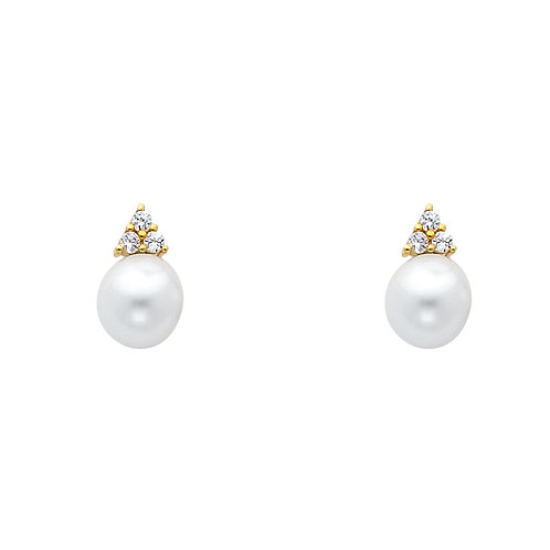 14K Yellow 6mm Pearl with CZ Earrings