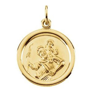 14K Yellow 16 mm St. Christopher Medal