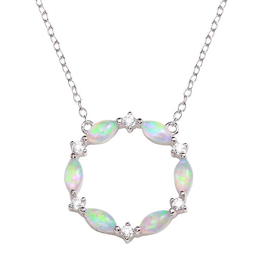 Synthetic Opal and White Stone Sterling Silver Circle Necklace