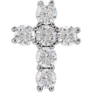 14K White 1 1/2 CTW Diamond Cross Pendant